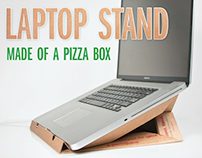 Laptop stand made of a pizza box