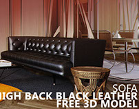 FREE 3D MODEL High Back Black Leather Sofa