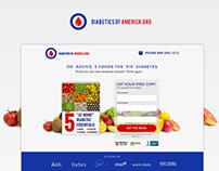Diabetics of America.org Landing page
