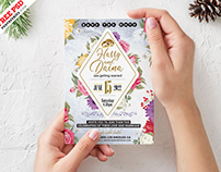 5×7 Designer Wedding Invitation Card PSD Template