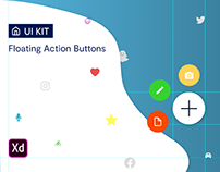 Interactive Floating Action Buttons UI Kit for Adobe XD