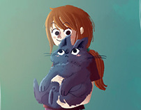 Little Girl and her Fat Cat