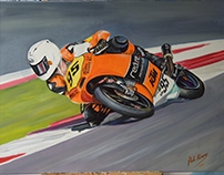 Redline Motorcycles Oil on Canvas Commission