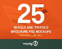 25 Bi-Fold & Tri-Fold Brochure PSD MockUp