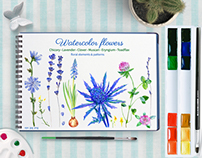 Watercolor flower set