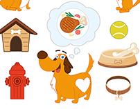 Cute dog design with elements. Vector illustration