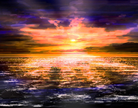 Digital Painting: Sunset reflection