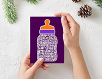 Baby shower invitation and card designs (bottle)