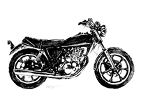 Vintage Yamaha Motorcycle Illustration