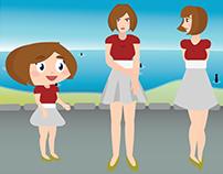 Three Carla at the Beach - Vectorial Illustration