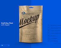 Mock-up Kraft Doy-Pack with Zipper W