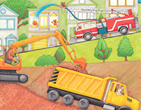 Trucks at Work Illustration