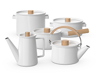 Kaico - Enamel white kitchenware set