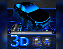3D Blue Sports Racing Car Theme 🚘