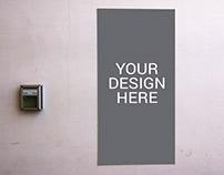 Realistic Wall Poster Mockup - Free PSD