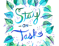 """Stay on Task"" Watercolor Motivational Illustration"