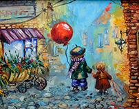 Oil on canvas, illustration