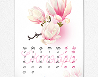 Calendar with illustrations of flowers