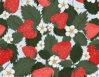 Strawberries garden. Summer pattern illustration