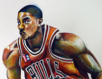 Derrick Rose Watercolor Painting