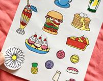 Illustrated Sticker Sheets for Daisy's MilkBar