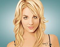 Ilustração da atriz Kaley Cuoco