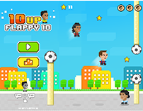 Retro pixel soccer flappy game.