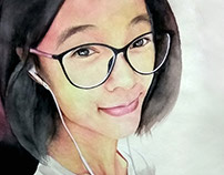 Water Color Painting, a Chinese Friend (R)-Artist Kamal