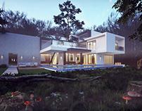 Modern house forest scene render Vray