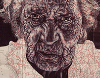 Bic Biro drawing of a homeless Portuguese women on map
