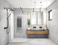#bathroom #grey #wood #blackchrome