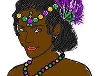 Mardi Gras Femme (for a T-shirt)