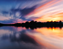 Sunset over the Lake Kamien in Poland