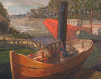 Oil paintings on canvas - boats and cars