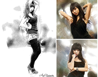 Photo Edit - Pseudo drawing process and sketch style