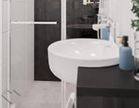 Projekt łazienki w monochromie - Kębłowice