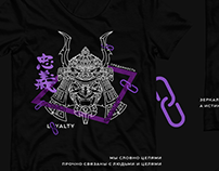 T-shirt design with samurai masks