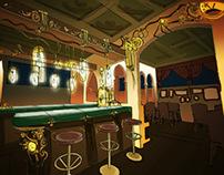 Steampunk cafe - interior concept sketches