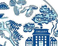 Chelsea Sugar Blue Kowhai tea towel