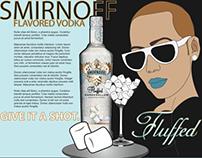 Amber Rose and Smirnoff Illustration Layout