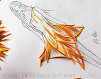 Orange Gerbera - Fashion Design