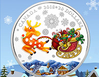 """2018 $20 Royal Canadian Mint Coin """"Holiday Reindeer"""""""