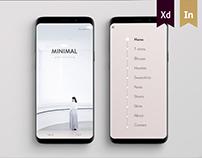 Minimal and neutral shopping app UI design