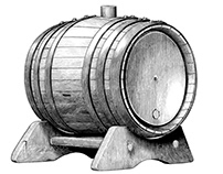 Oak barrel hand draw vintage style