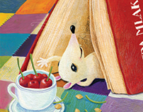 Mouse that loves reading books and picking cherries