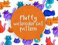 Fluffy watercolor cat pattern