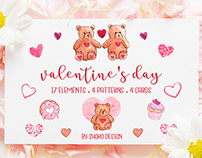 Valentine's day Handmade watercolor set 25 elements