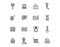 Gold Mine Icons Set
