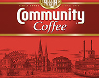Community Coffee Labels Illustrated by Steven Noble
