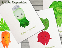 Watercolor hand painted clipart. Little Vegetables.